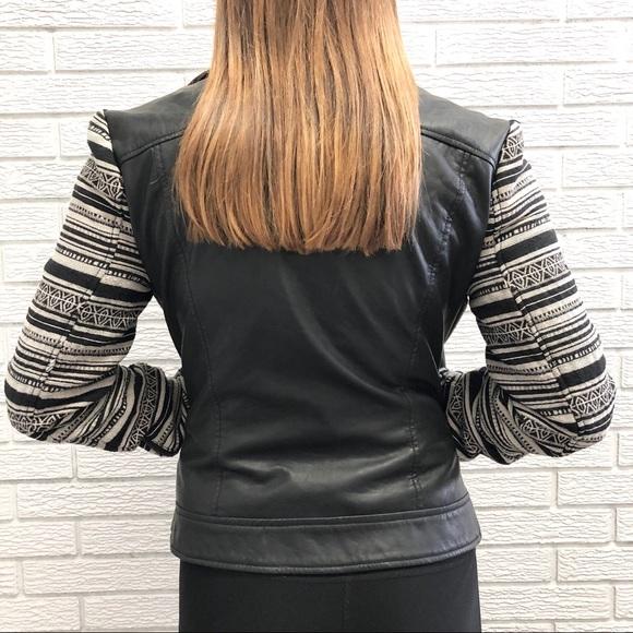 Jackets & Blazers - Vegan Leather Moto Jacket w/ Fun Fabric Sleeves